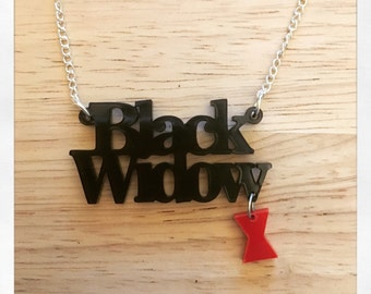Avengers Inspired Black Widow Acrylic Necklace with Charm