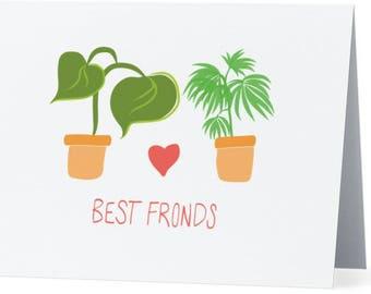 Best friends card / friendship card / plant love