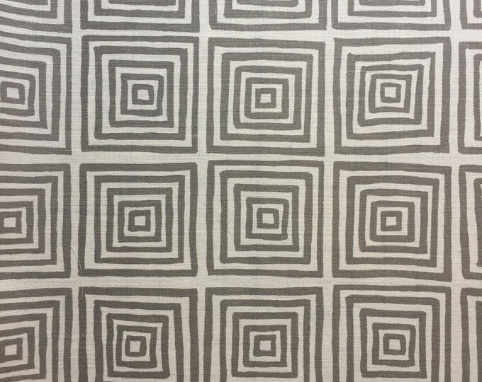 Quadrille China Seas Ziggurat in Steel on Tan Linen Designer Pillow Cover - Square, Lumbar and Euro Sizes