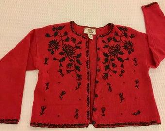 VINTAGE TIARA Petite Cardigan Sweater - Ramie Cotton Sz PL