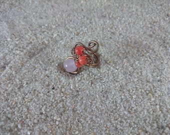 Handmade Copper Wire Ring, Copper Ring, Wire Ring, Ring, Quartz, Pink Ring