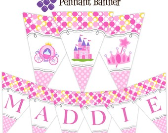 Princess Pennant Banner - Pink Polka Dots, Crown, Princess Castle and Carriage Personalized Birthday Party Banner - A Digital Printable File