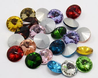 10 x faceted gemstones, Rivoli, chatons, color mix, 14 mm