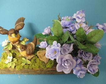floral arrangement and Sparrows Birds figurine,Purple Flowers on Barnwood.porcelain