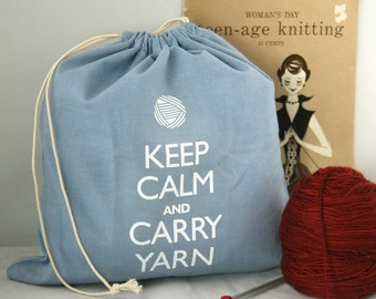 Small knitting project bag - Keep Calm and Carry Yarn - Wedgewood Blue