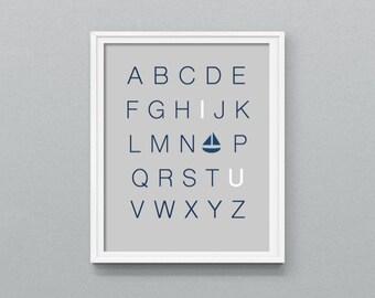 "Nursery Wall Art, Nautical Nursery Art, I Love You Alphabet, Gray, 8x10"" PRINTABLE"