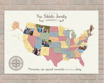 Photo Adventure Map, Travel Log, USA Map, Custom Photo Map, Picture Map, Family Travels, Personal Travel Map, Canvas Map // H-I24-1PS XX0