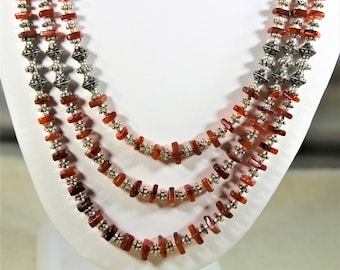 Carnelian necklace, multi strand necklace, orange necklace, beaded necklace, statement necklace, gift for her