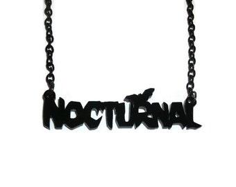 Nocturnal Necklace, Creepy Black Bat, Laser Cut Acrylic, Perspex Jewelry