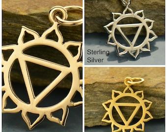 Natural Bronze, Solar Plexus Chakra, Chakra Charm, Bronze Necklace, Chakra Jewelry, Chakra Pendant, Yoga Charm, Yoga Jewelry, Mystical Charm