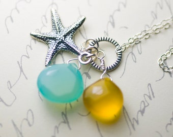 "Sea Blue and Sunkissed Yellow Chalcedony Starfish Charm Sterling Silver Necklace - ""Tranquility"""