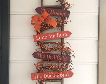 "Virginia Tech. Hokie . VT. Dorm Decor. Va Tech Dorm Decor. Lane Stadium. Blacksburg. Hokie Ladder with some of the ""Hot Spots"" of Va Tech"