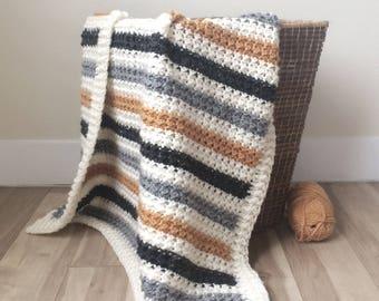 Crochet Striped Even Moss Stitch Blanket Pattern