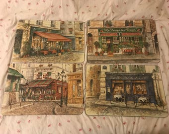 French restaurant themed place mats lot of 4