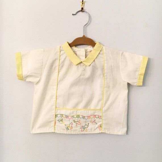 Vintage Baby Cotton Shirt with Collar and Embroidery Size 6-12 Months - Baby Shower Gift - Vintage Baby Clothing
