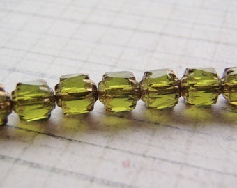 Olive Green Cathedral Beads Czech Glass 6mm Crown 10 Beads