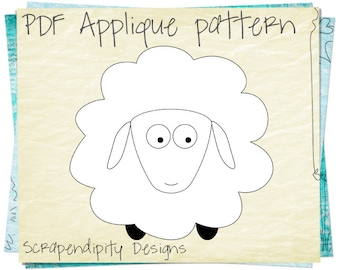 Sheep Applique Pattern - Animal Applique Template / Kids Baby Clothing Applique / Boy Clothing Patterns / Iron on Shirt / Scrapbook AP61-D
