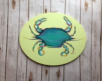 Original acrylic coastal blue crab on oval canvas