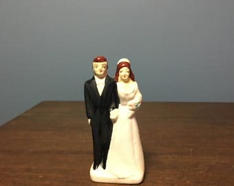 Vintage Bisque Wedding Cake Topper Bride and Groom (CT #15)