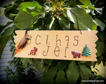 Welcome Friends Cherokee Language Sign, Elk and Bear Wood Sign, Handcrafted Sign, Mountain Decor, Native Style, Door Sign