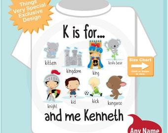 Boy's Personalized K is for Shirt or Onesie Personalized with childs name with everything that starts with K, alphabet learning (09232015l)