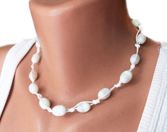 White Choker Necklace Delicate Beaded Jewelry simple  jewelry Bride's Necklace Bridal choker Wedding jewelry Gift ideas tiny crystal choker