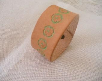 St Patricks Day Genuine Leather Cuff Bracelet.Hand Painted Handmade Bracelet.Bohemian Style. Ladies Bracelet.Gift for her, girlfriend, wife.