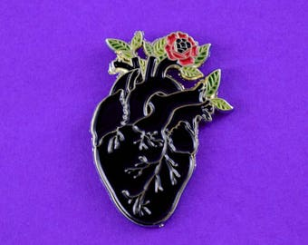 Black Anatomical Heart Soft Enamel Pin // Cute Pin // Pins //  Enamel Pin // Gifts for her // Gift for Him // Gift ideas // Flower Pin