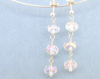 Bridal Crystal Earrings Clear AB and Sterling Silver Drop Earrings Wedding