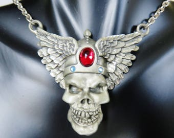 Vintage Pewter Winged Skull Pendant Necklace By Fable