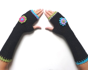 Black Knit Long Fingerless Gloves, Crochet Winter No finger Mittens, Mitts, Arm warmers, Wrist warmers for Women, with Flowers, Mom Gift