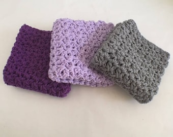Farmhouse Style Large Cotton Wash/Dish Cloths Black Currant,  Soft Lilac, and Gray Set of 3 Ready to Ship