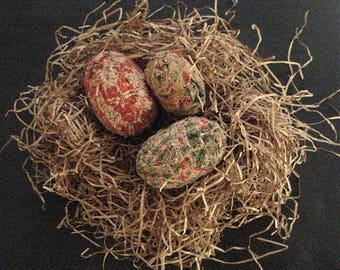 Primitive FOLK ART EGGS-Set of 3 Handcrafted Folk Art Eggs from 1800's Antique Coverlets.