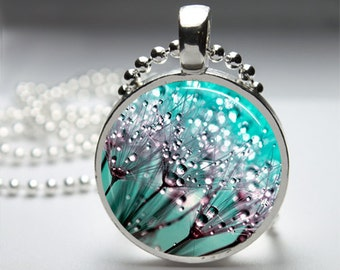 Turquoise Dandelion Bloom Nature Photography Round Pendant Necklace with Silver Ball or Snake Chain Necklace or Key Ring