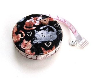 Measuring Tape with Assorted Cats and Hearts Retractable Pocket Tape Measure