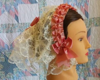 Cream Lace Fanchon Styled Day Cap with Peach Ribbon