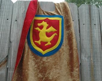 Dragon Cape GOLD and RED - Super Cape - Birthday Cape - Super Hero Cape - Halloween Costume - Halloween Costume - Kid Costume