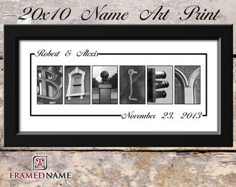 Alphabet Letter Art Great For Weddings Or Anniversarys - 20x10 Alphabet Art - White Style 2 UNFRAMED