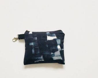 3 VEGAN Zero Waste Shopping Bags in Pouch with Indigo Brush Strokes / Small Zero Waste Shopping Kit / 3 Bags For Bulk Shopping