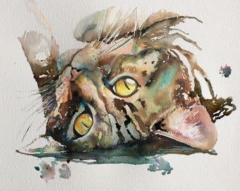 Original Acrylic Ink Painting A3 - Cat