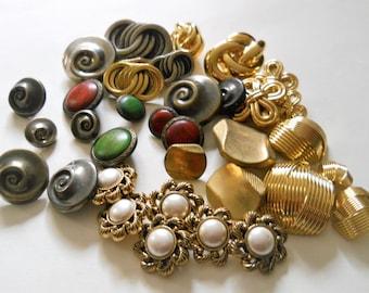 Vintage Button Destash - Thirty-Five Shank Buttons - Plastic Novelty Buttons - Variety Mixed Lot - Vintage Craft Supply Destash