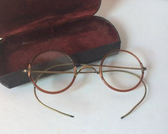 Antique Eyeglasses and Case Wire Frame Prescription Glasses