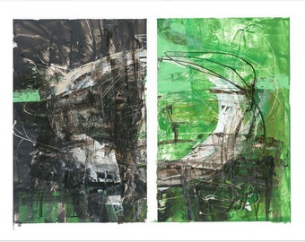 Abstract Art Giclee Print by Jeff Cohen / Modern Art / Green and Black / Diptych / Contemporary / Bold / Dynamic / Balanced