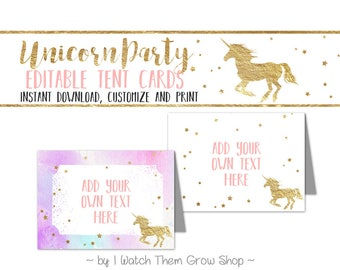 Unicorn Party Tent Cards, Editable/Printable Unicorn Birthday Party Buffet Cards, Pink and Gold Unicorn Food Labels, PDF INSTANT DOWNLOAD