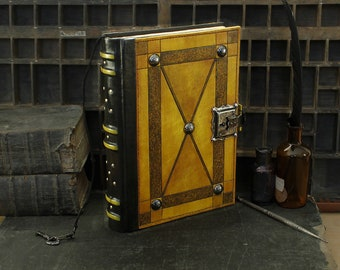 "Large Leather Journal with Lock and Key, Yellow Antiqued Leather - ""Full Moon"""