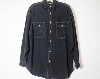 Dark Navy Blue Black Vintage 90s Button Down Shirt with White Contrast Stitch & Silver Buttons, Retro Revival Unisex Fashion Medium
