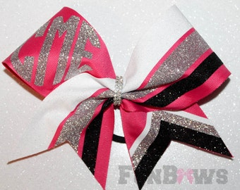 Custom  Monogram Cheer School Team Glitter Hairbow  by FunBows !! - your colors !