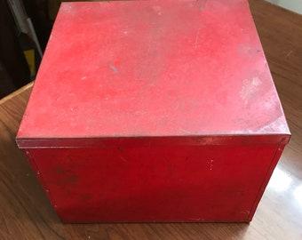 "Antique Tin Box w Lid - 9"" w x 7"" h - red"