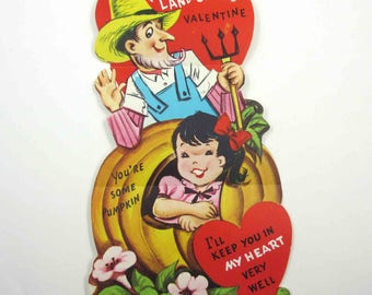 Vintage Unused Over Sized Children's Valentine Greeting Card with Farmer in Straw Hat Pitchfork Girl in Pumpkin
