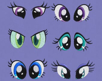 """6 pairs eyes embroidery designs  1x1"""" left & right sides  pes hus jef  soft toy"""